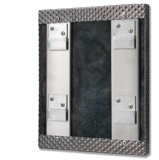 Acoustic panel, back, clips, Rigidized Metals